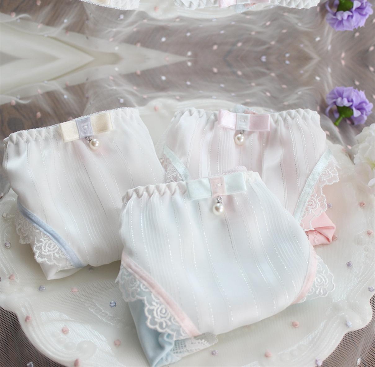 精品少女士内裤A65112牛奶丝爆款雪纺丝带水溶边舒适款三角裤MLXL