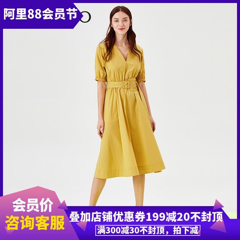 曼娅奴2019春装新款时尚V领短袖韩系腰带连衣裙女MJ14DA606