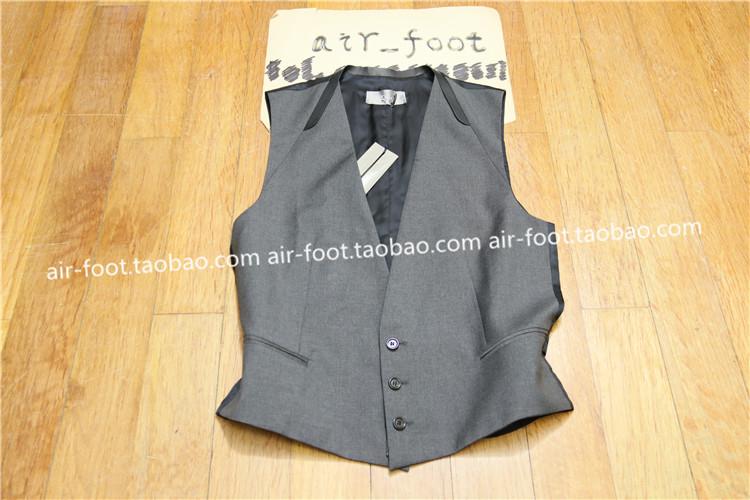DIOR HOMME银灰色皮边西装背心帅气暗黑潮流时尚前卫修身显瘦马甲