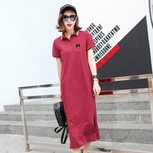 欧洲站2xi121夏季en刺绣POLO领T恤衫宽松显瘦中长式连衣裙女