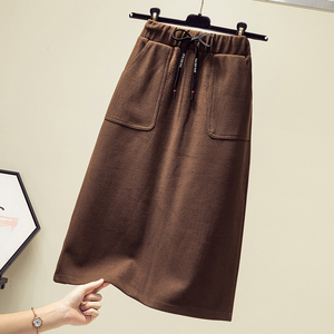Autumn and winter 2019 new large size women fat sister fashion cover was thin and high waist wool split fork skirt skirt tide