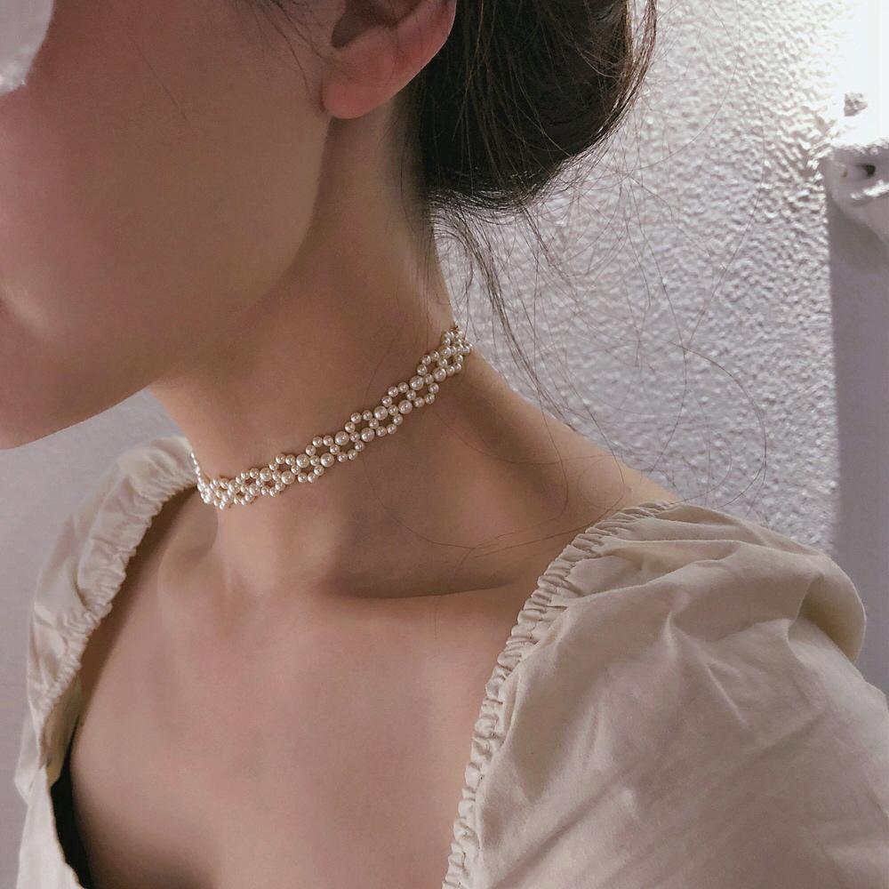 Tyusha超美天鹅颈*手工编制进口施家珍珠14K包金项链锁骨链Choker