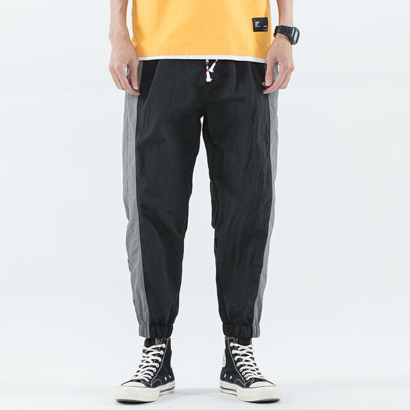 布衣局 881# 风衣裤撞色拼接休闲裤男  黑色 灰色 两色