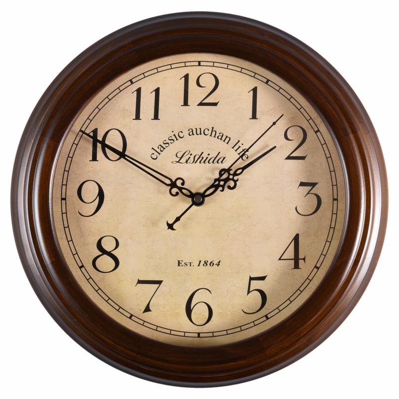 欧式实木现代简约复古静音钟表挂钟客厅时钟中式木质创意美式挂表