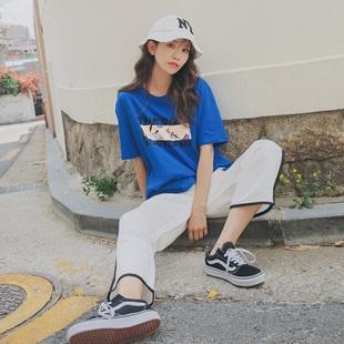 2018春装新款宽松短袖T恤女夏装中袖学生韩版半袖韩范百搭上衣潮