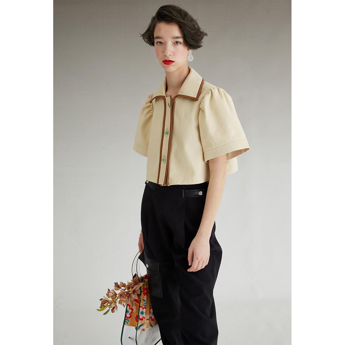 FUSSED 18SS原创独立设计师品牌 米白拼皮泡泡袖叛逃公主短款衬衣