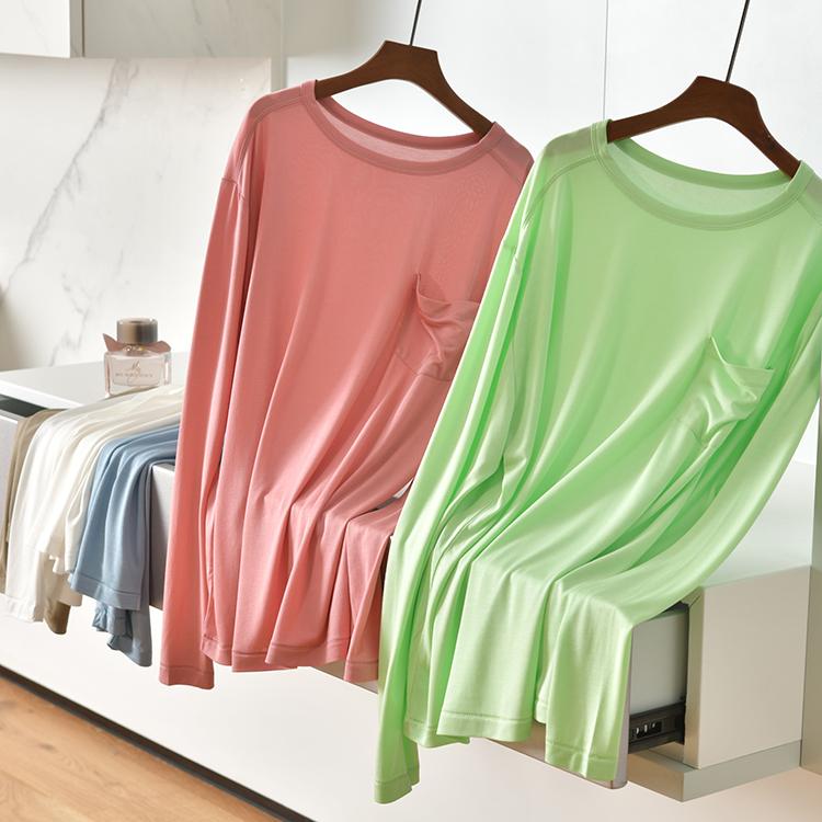 【大冯冯】莫代尔软T恤,更柔和、多垂感.....!小口袋春天长袖T
