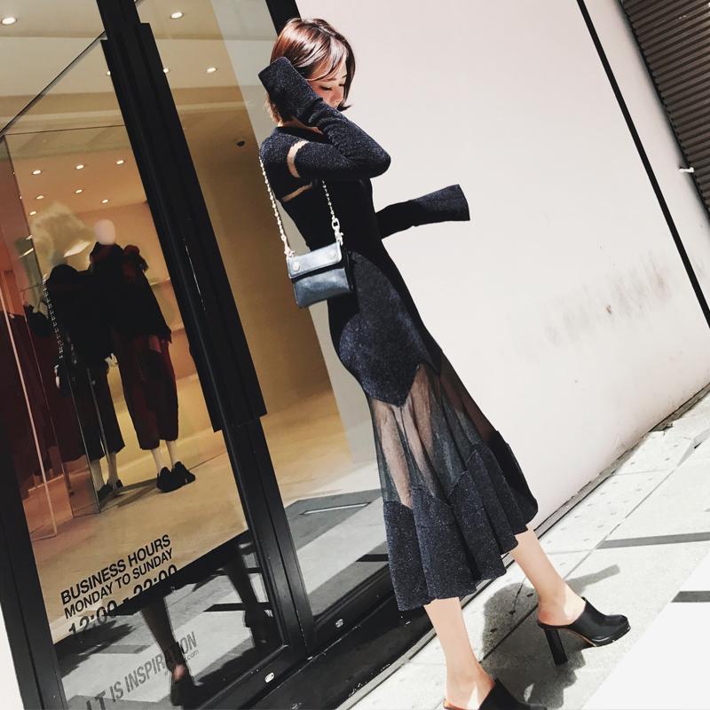 Lin 2017秋冬装新款chic裙子长裙港味复古风性感长袖针织连衣裙女