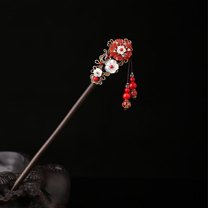 烟雨江南原创红色发簪古风流苏步摇中国风簪子古装饰品民族风发饰
