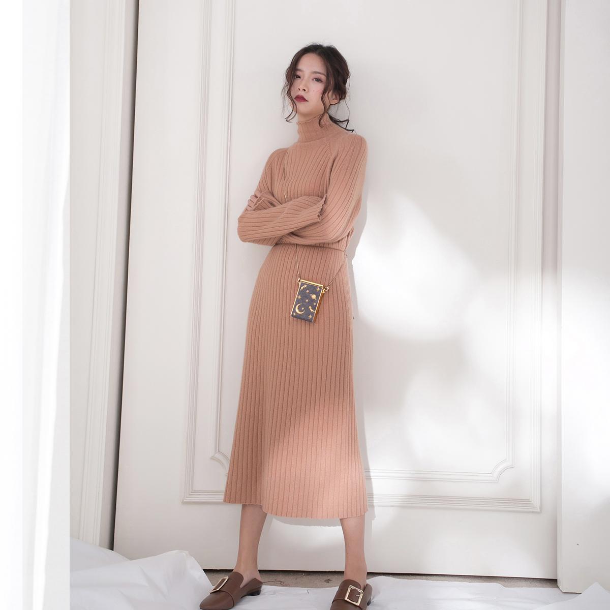 独立 设计 橘色 温柔 羊毛 混纺 毛衣 连衣裙