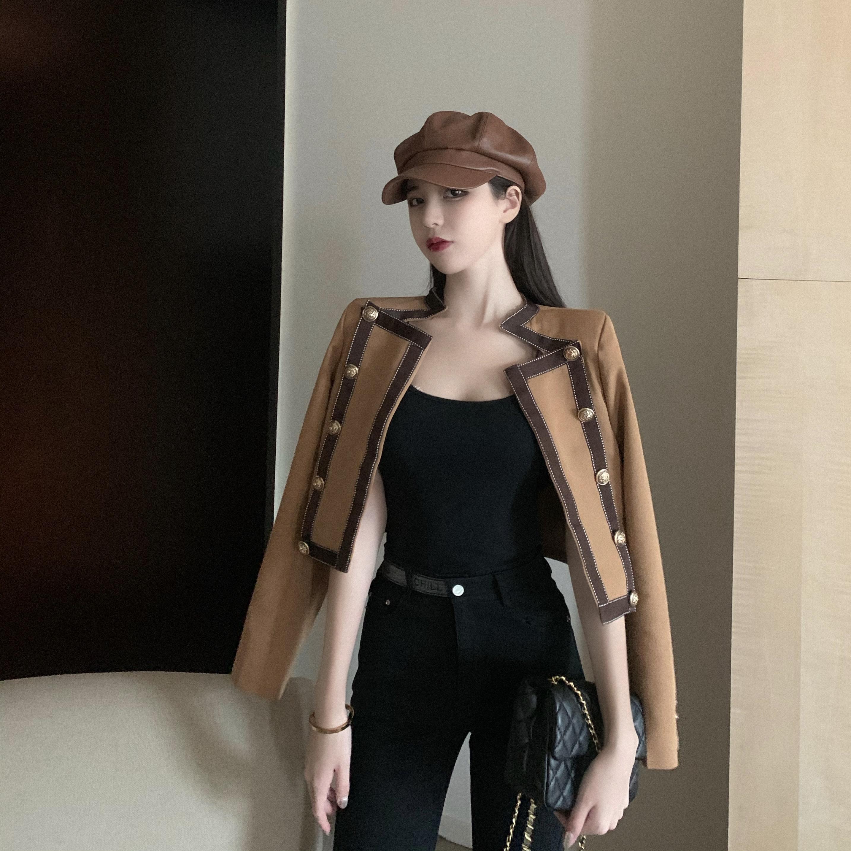 实拍实价 韩版撞色拼接立领双排扣修身显瘦外套-红小姐De店-