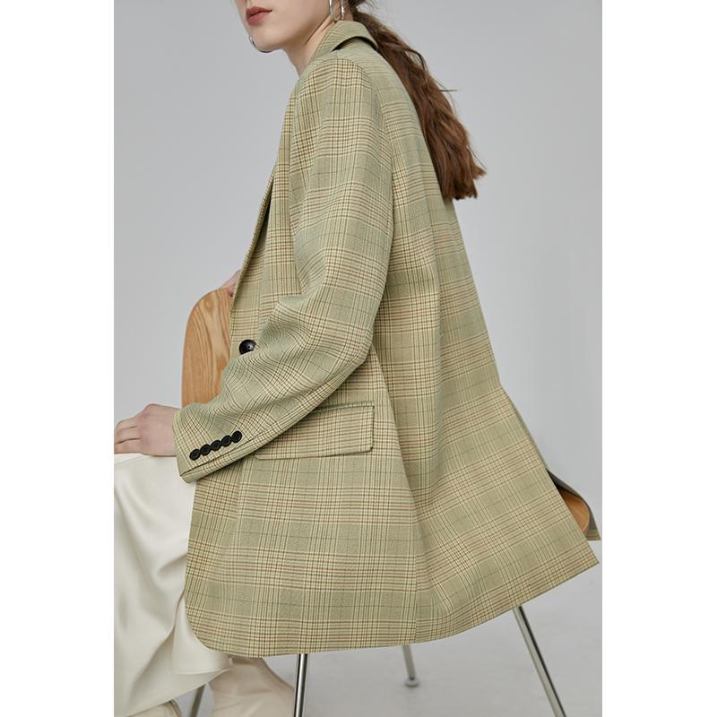 范洛2020新款春黄绿色复古宽松休闲格纹威尔士格纹法式小西装外套