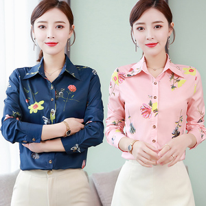 Shirt women's long-sleeved spring and autumn new women's Korean printed shirt chiffon shirt Slim was thin bottoming shirt women's shirt