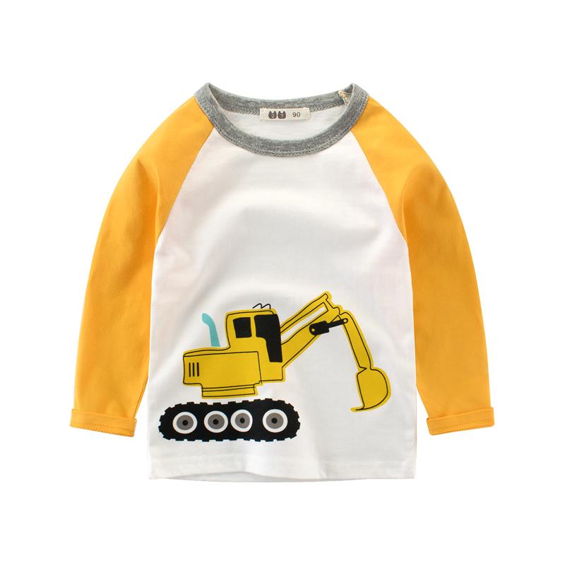 儿童长袖t恤 男童长T纯棉打底衫 2018春秋新款中小童上衣 挖土机
