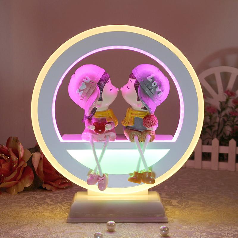 台灯卧室床头创意婚庆现代简约卡通台灯LED节能温馨浪漫节日礼品-喜丹妮婚庆礼品