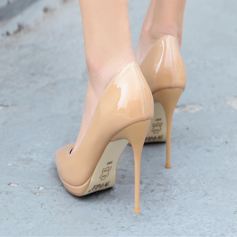 超高跟12cm女鞋子欧美秋季新款尖头防水台细跟女鞋子单鞋红色婚鞋