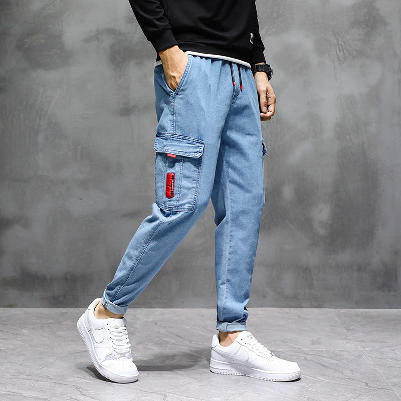 1801/p40秋冬季新款休闲宽松直筒工装牛仔裤美式哈伦松紧男长裤子