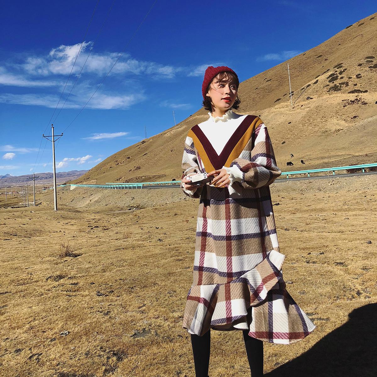 女装冬装2017新款裙子潮格子拼接宽松假两件半高领毛呢长袖连衣裙