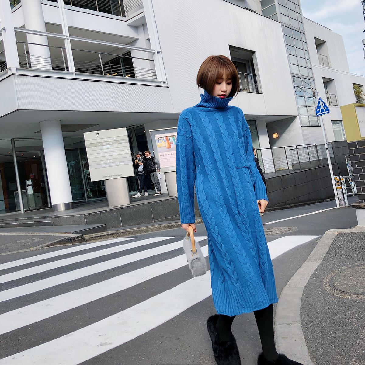 2018新款冬装毛线裙子 高领麻花过膝毛衣裙长袖针织连衣裙女冬裙