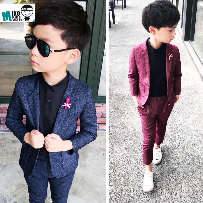 韩版休闲童装西装男童小西装儿童礼服三件套花童套装主持人演出服