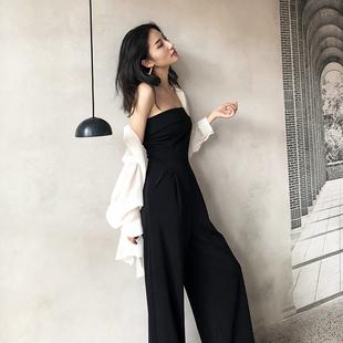 抹胸连体裤女2020夏一字肩chic显瘦高腰性感气质黑色时尚阔腿裤薄
