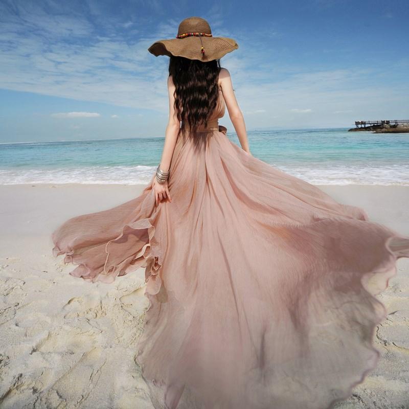 播喜 2018夏装新款女 多色雪纺大摆半身长裙度假沙滩裙 大爱