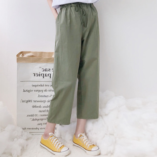 夏装女2019新款韩版九分裤哈