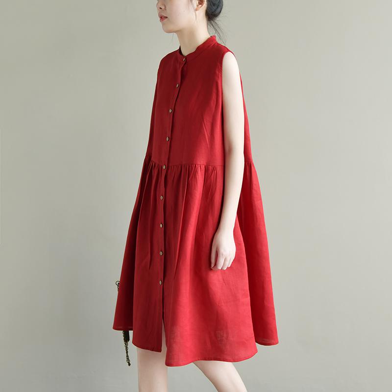 天然出品 如歌令 宽松文艺气质无袖亚麻连衣裙立领a字版衬衫裙女