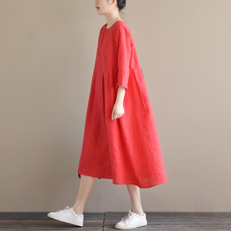 天然出品 为你洒下月光 圆领宽松大红七分袖棉麻连衣裙春夏新款