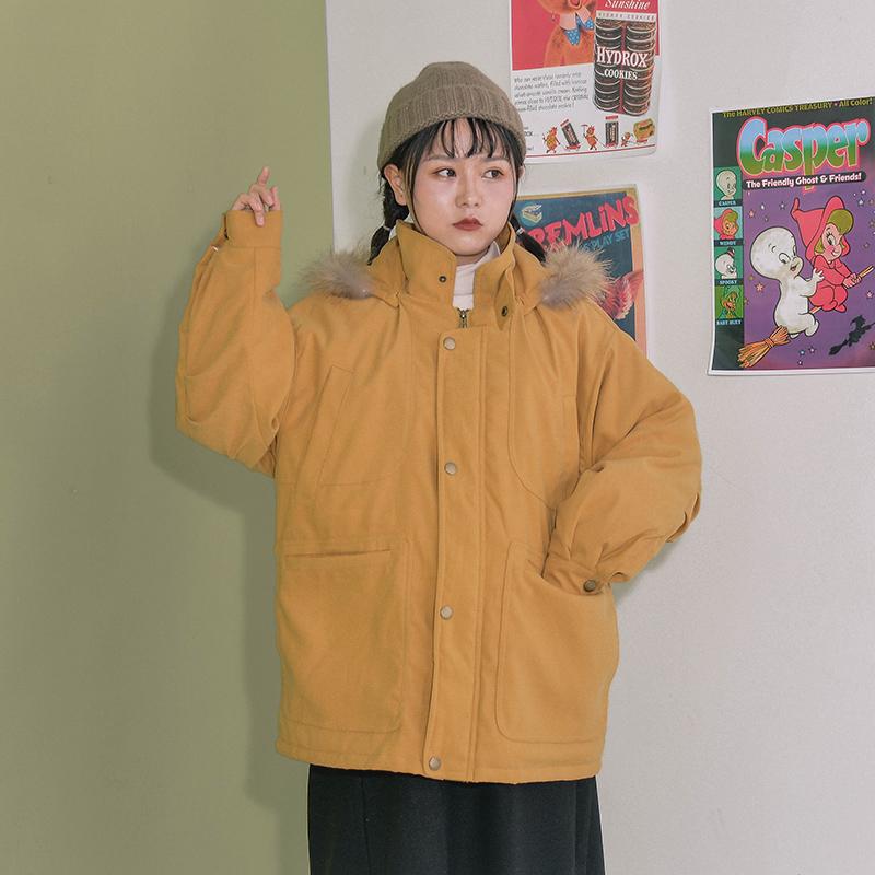 南西自制 日系复古宽松连帽真毛领工装棉服女小个子冬季外套学生