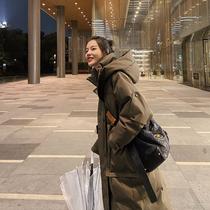 棉衣女中长款韩版加厚面包服2021年冬季外套工装羽绒棉服过膝棉袄