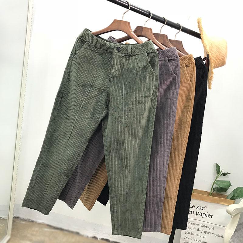 I@06【灯芯绒】复古休闲裤春秋新款chic时尚哈伦萝卜裤ins工装裤
