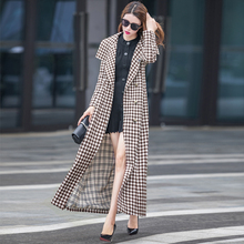 2020hs1式流行风td外套格子秋季长式风衣女士外套过膝春秋式
