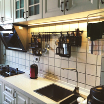 免打孔北欧黑色厨房挂件置物架壁挂调料架刃架锅盖架筷子筒碗碟架