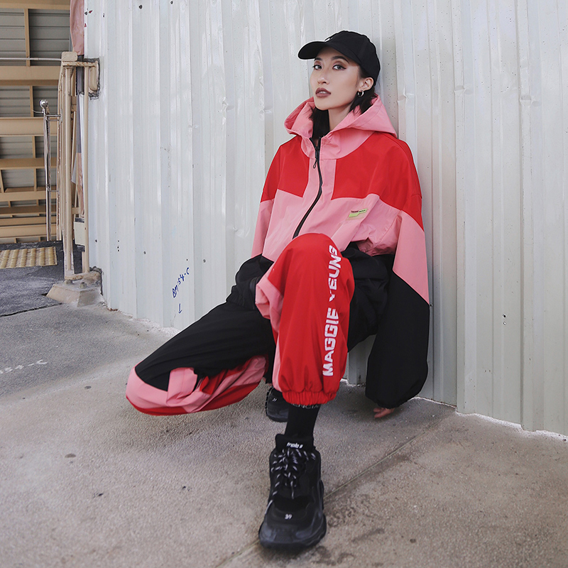 2018秋装新款潮牌运动街头拼色外套+束脚百搭休闲长裤女套装嘻哈