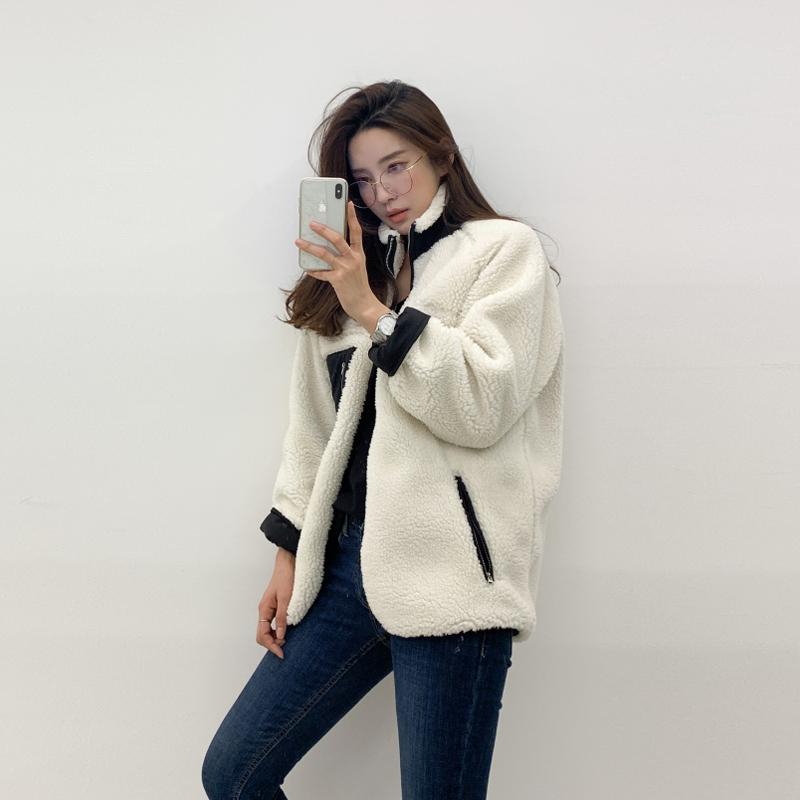 现货 Chic韩国 百搭宽松慵懒风仿羊羔毛两面穿保暖短款外套 女-锦好家-