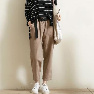 【清仓】 不退不换 春季新款百搭显瘦女装长裤 文艺宽松休闲裤