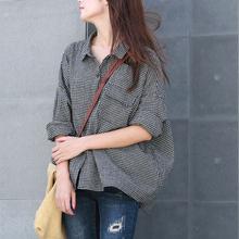 谷家 新款文艺复古棉麻格子衬衫gx12 休闲ks宽松长袖衬衣