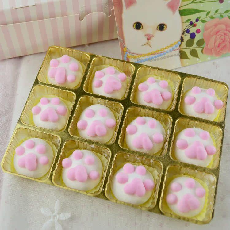 猫爪棉花糖 日系超萌猫肉球 咖啡伴侣创意軟糖生日礼物礼盒装12枚