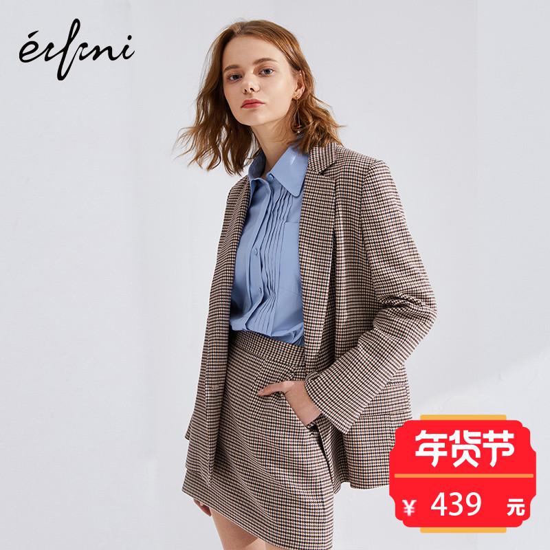 伊芙丽2018春装新款韩版时尚千鸟格西服修身一粒扣格子西装外套女