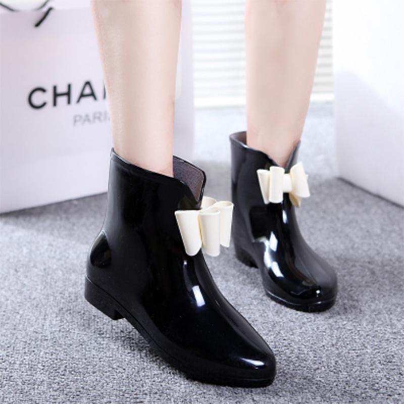 夏季韩版时尚成人平底雨鞋女中筒蝴蝶结水靴时尚雨靴防滑短筒水鞋