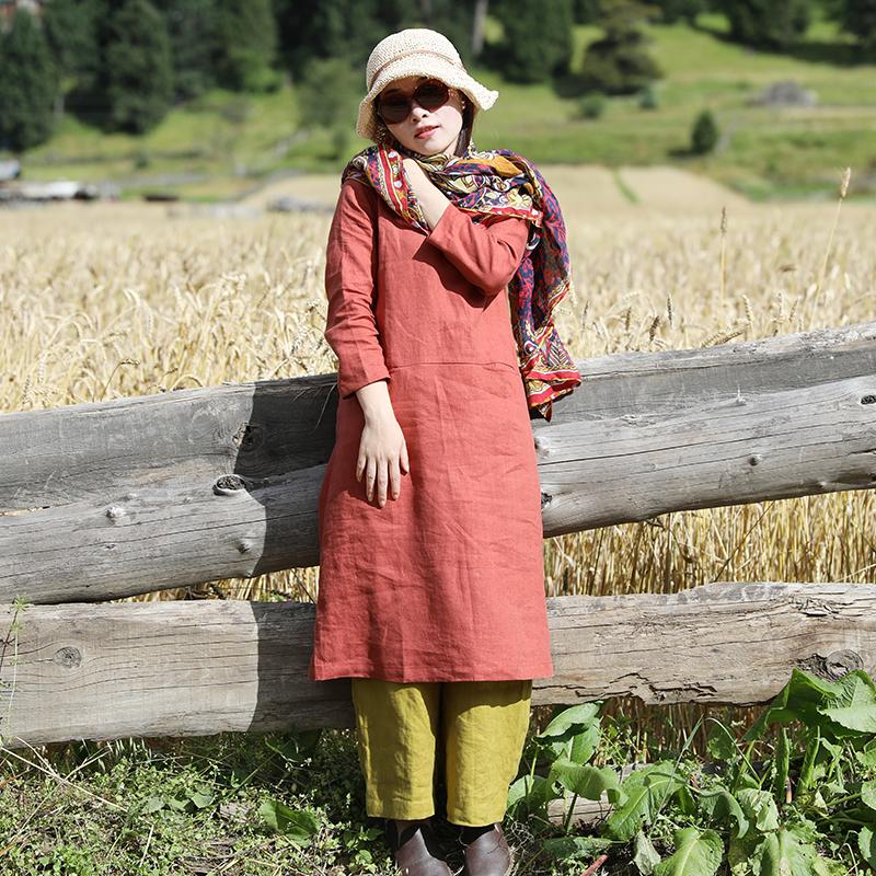【木鹂】十木米原创2017秋新款旅行文艺范亚麻连衣裙袍子送腰带