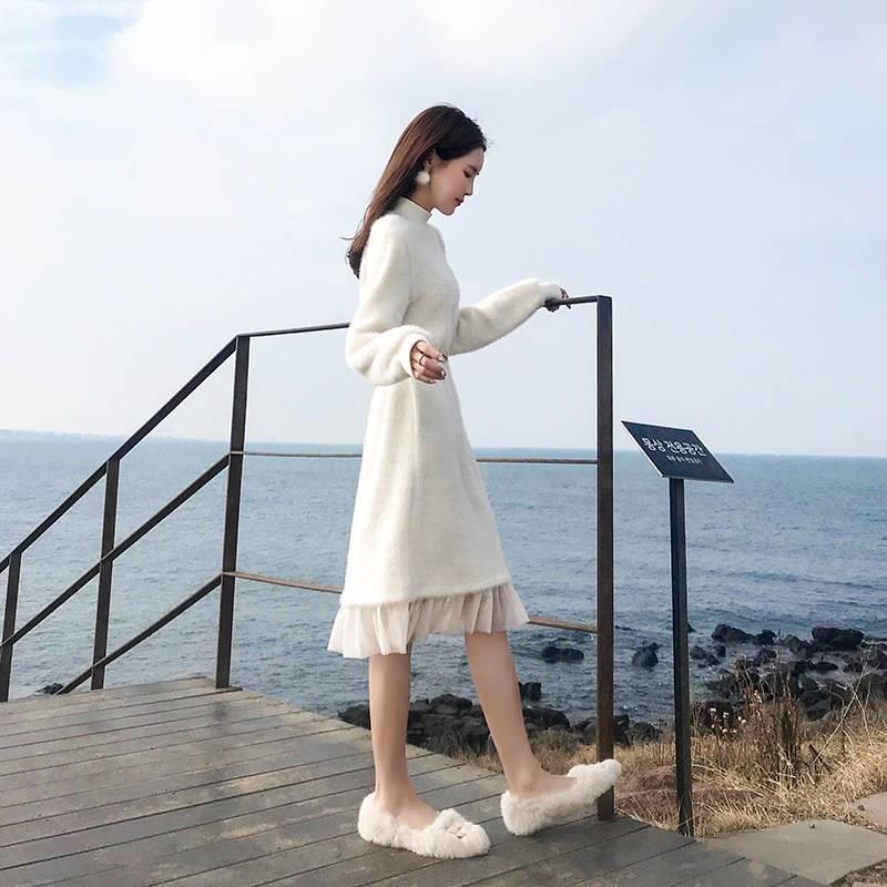 很仙的过膝毛衣裙长款仙女裙内搭针织打底连衣裙女秋冬配大衣裙子