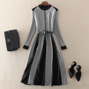 2019 autumn and winter new high-end temperament women's European and American big-name Slim was thin stitching large houndstooth dress
