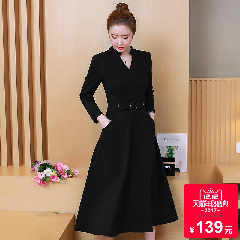 加肥加大碼女裝2017鼕裝新款200斤胖mm韓版寬松鼕季胖妹妹連衣裙