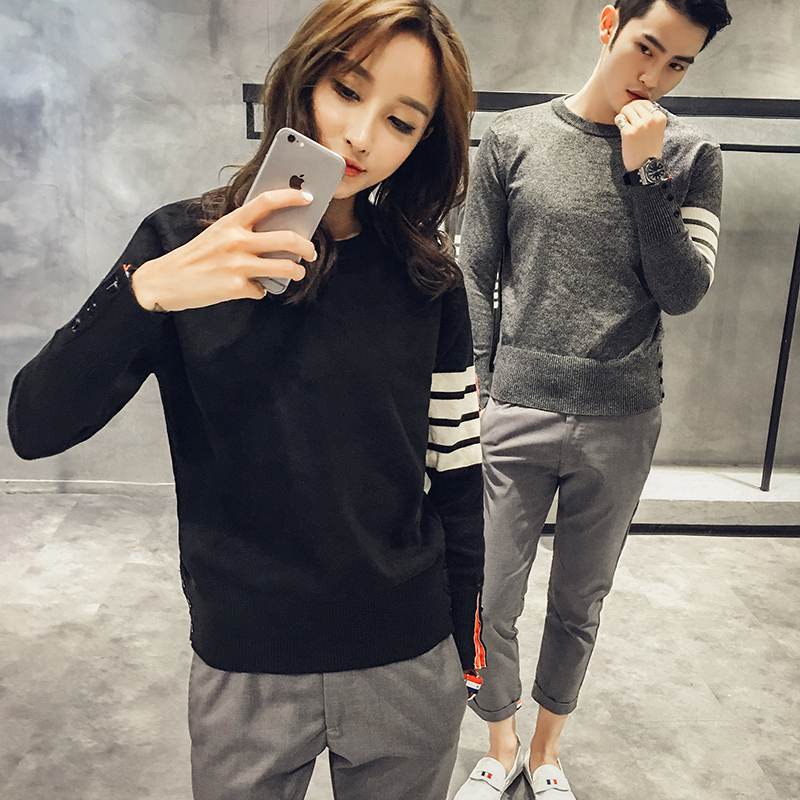 New TB song Zhongji Li Yifeng same men's shirt Korean slim couple sweater solid color Pullover