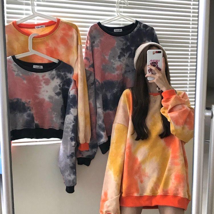 薄款鱼鳞布短款扎染卫衣2020年新款韩版上衣-倚桐-