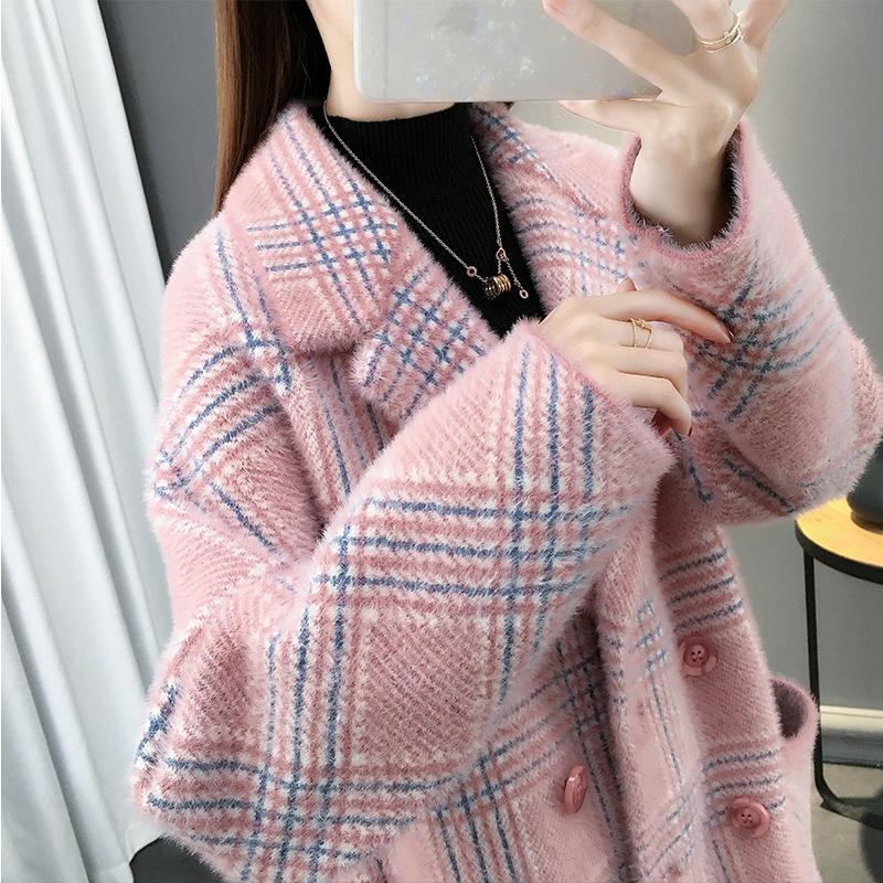 秋冬女装格子仿水貂绒外套女2020新款中长款韩版宽松针织开衫大衣