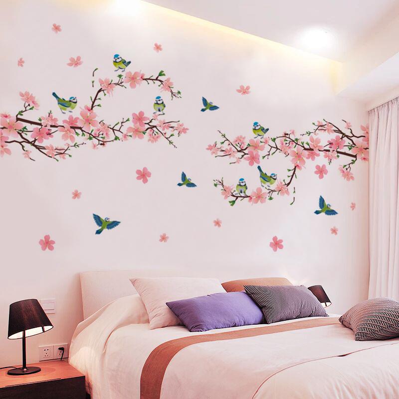 创意花卉墙贴纸个性客厅电视背景墙壁纸自粘温馨卧室床头墙上贴画
