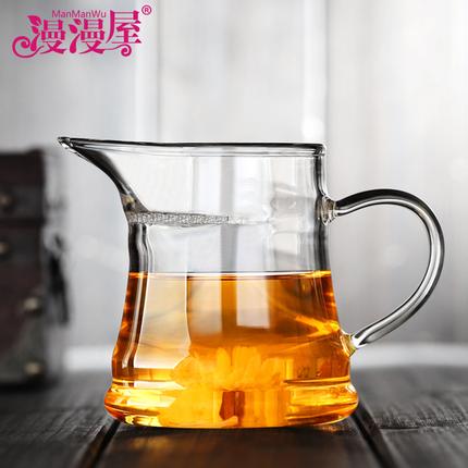 漫漫屋耐热玻璃分茶冲茶器月牙公道杯绿泡茶杯茶具配件320ml